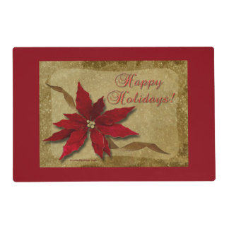Red Poinsettia on Gold Laminated Placemat