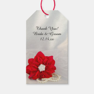 Red Poinsettia Pearls Winter Wedding Favor Tags