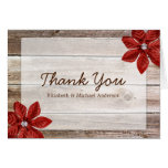 Red Poinsettia Rustic Barn Wood Thank You Note Card