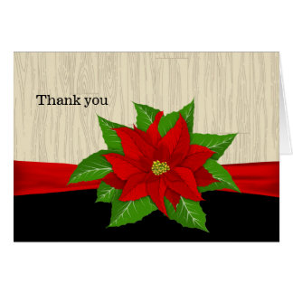 Red Poinsettia Thank You Card