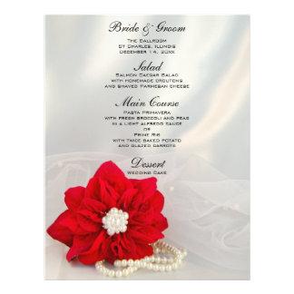 Red Poinsettia White Pearls Winter Wedding Menu