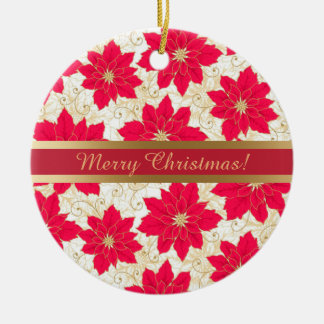 Red Poinsettia with gold swirls Season's Greetings Christmas Ornament