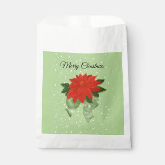 "Red Poinsettia with Green Bow ""Merry Christmas Favour Bags"