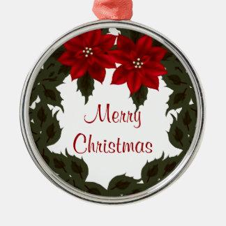 Red Poinsettia Wreath Christmas Premium Ornament