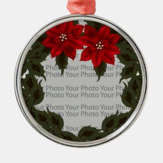 Red Poinsettia Wreath Photo Frame Premium Ornament