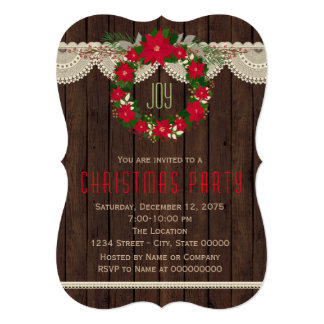 Red Poinsettia Wreath Rustic Christmas Party 13 Cm X 18 Cm Invitation Card