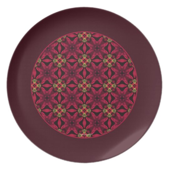 Red Poinsettias Abstract 2 Border Plate