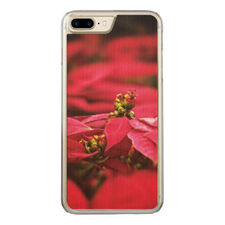 Red Poinsettias Flowers Carved iPhone 7 Plus Case