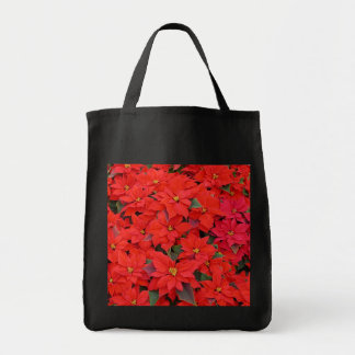 Red Poinsettias I Christmas Holiday Floral Grocery Tote Bag