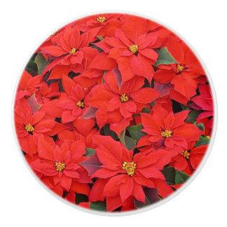 Red Poinsettias I Christmas Holiday Floral Photo Ceramic Knob