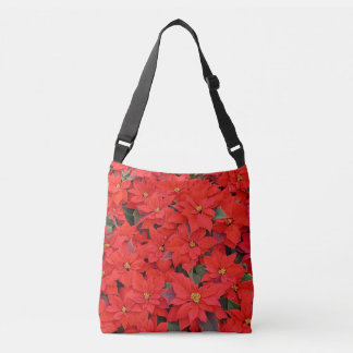 Red Poinsettias I Christmas Holiday Floral Photo Crossbody Bag
