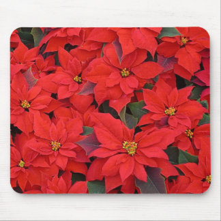 Red Poinsettias I Christmas Holiday Floral Photo Mouse Mat