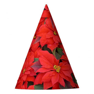 Red Poinsettias I Christmas Holiday Floral Photo Party Hat