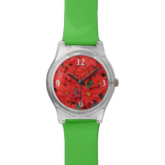Red Poinsettias I Christmas Holiday Floral Photo Watch