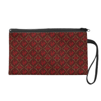 Red Poinsettias on Burgundy Wristlet Purses