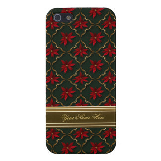 Red Poinsettias on Green iPhone 5 Covers