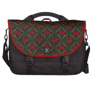 Red Poinsettias on Green Laptop Computer Bag