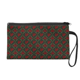 Red Poinsettias on Green Wristlet Purse