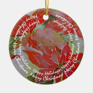 Red Poinsettias with Your Circular Text Christmas Ornament