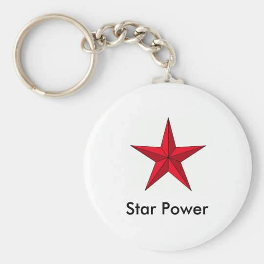 red-pointy-star[1], Star Power Basic Round Button Key Ring