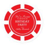 Red Poker Chip Birthday Party Invitation