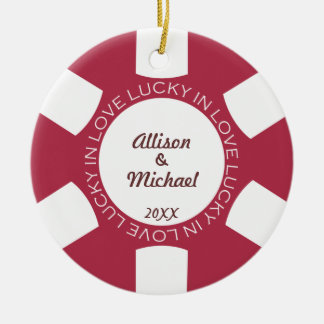 Red poker chip lucky in love couple photo vegas christmas ornament