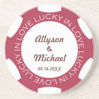 Red poker chip lucky in love wedding anniversary coaster