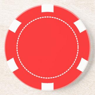 Red Poker Chip Sandstone Coaster