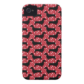 Red Polka Dachshunds iPhone 4 Cover