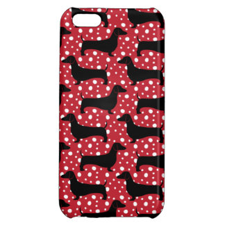 Red Polka Dachshunds iPhone 5C Covers