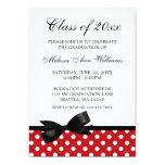 Red Polka Dot Black Bow Graduation Announcement 13 Cm X 18 Cm Invitation Card