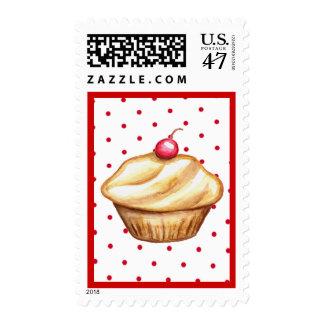 Red Polka Dot Cherry Cupcake Postage Stamp