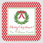 Red Polka Dot, Christmas Wreath Sticker