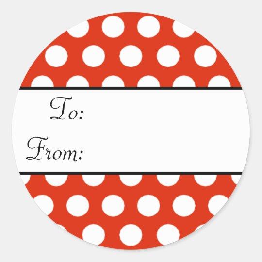 Red Polka Dot Gift Tag Sticker