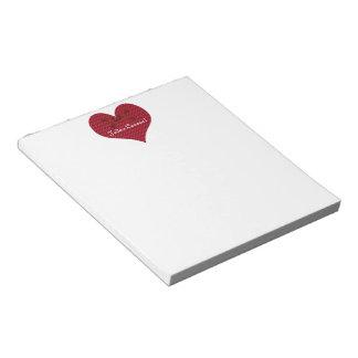 Red Polka Dot Heart Notepad