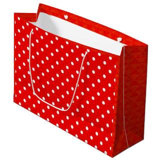 Red polka dot large gift bag