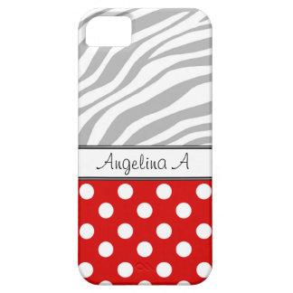 Red Polka Dot Light Zebra Print iPhone 5 Case