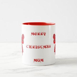 Red Polka Dot Merry Christmas Two-Tone Mug