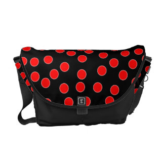 Red Polka Dot Messenger Bag. Courier Bag