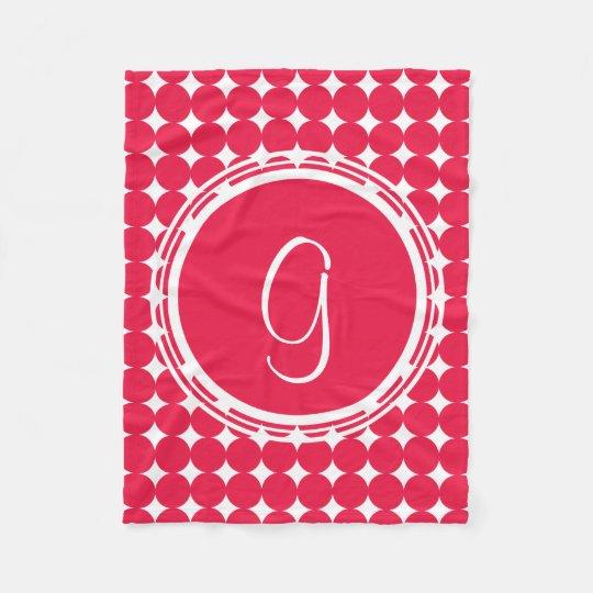 Red Polka Dot Monogram Fleece Blanket