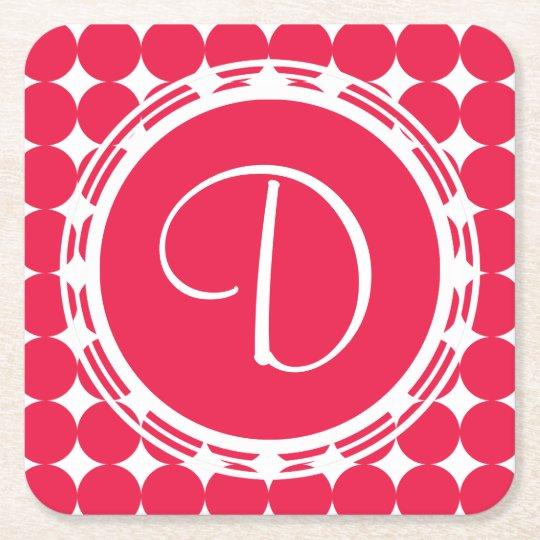 Red Polka Dot Monogram Square Paper Coaster