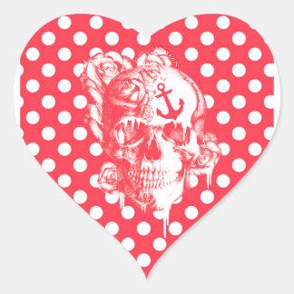 Red polka dot nautical skull heart sticker