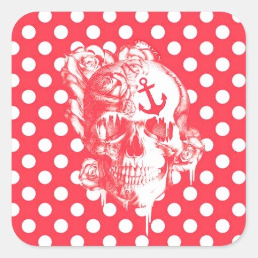 Red polka dot nautical skull square stickers