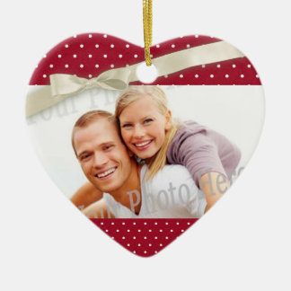 Red Polka Dot Photo Heart with Bow Ceramic Heart Decoration