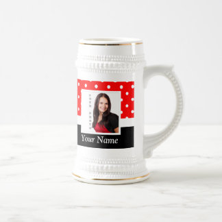 Red Polka dot photo template Beer Stein