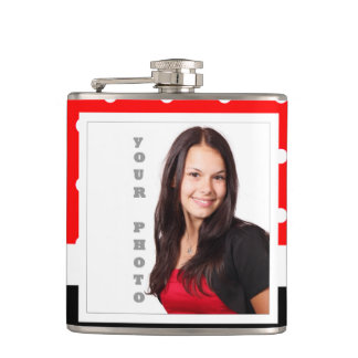 Red Polka dot photo template Hip Flask