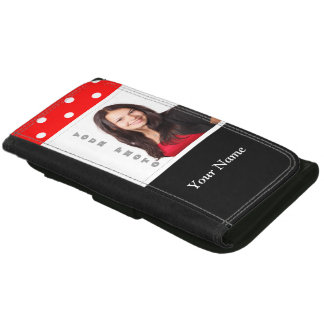 Red Polka dot photo template Wallet For Women