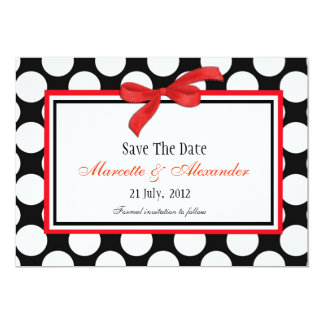 Red Polka Dot Save The Date 13 Cm X 18 Cm Invitation Card