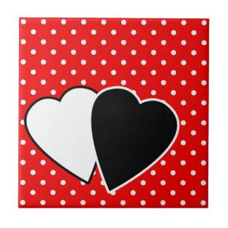 Red polka dot small square tile