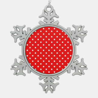 Red polka dot snowflake pewter christmas ornament